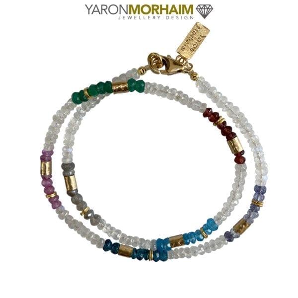 Necklace With Labradorite, Pink Topaz , Moonstone & Garnets