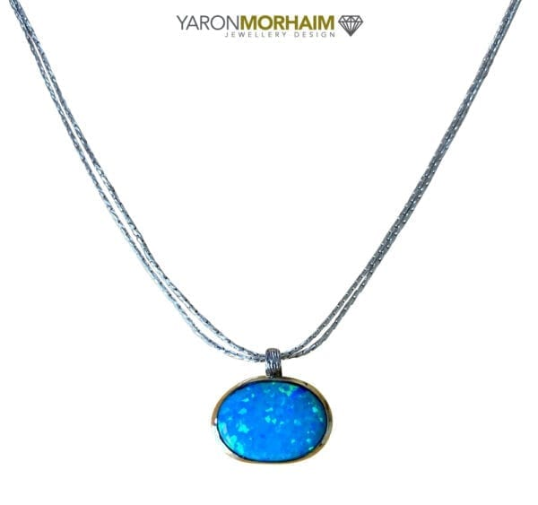 Opal Silver Gold Necklace