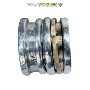 Three Tone Spinning Silver & Gold Ring