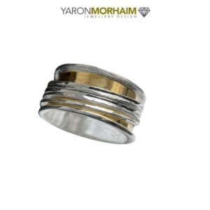 Hammered Silver & Gold Spinning Ring