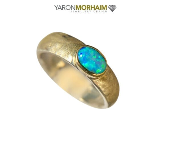Oval Opal Hammered Silver & Gold Ring