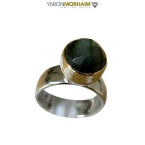 Labradorite Silver Gold Ring
