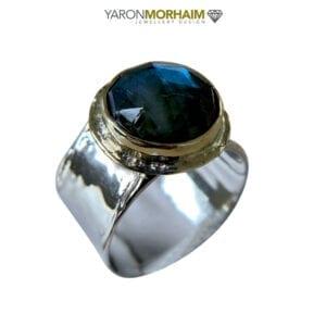 Labradorite Statment Silver & Gold Ring