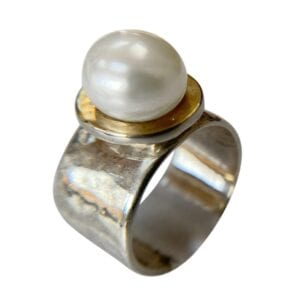 Silver Gold Ring Pearl