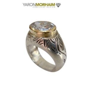 Silver Gold Textured Ring