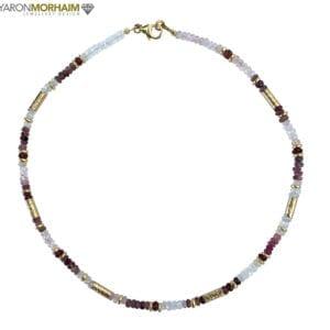 Necklace Aquamarine Moonstone Garnet