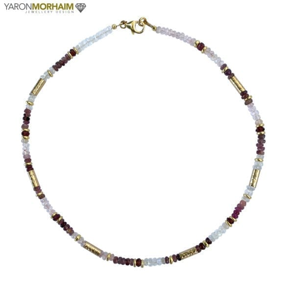 Necklace Aquamarine Moonstone Garnet