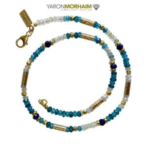 Necklace Blue Topaz, Aquamarine, Moonstone & Lapis