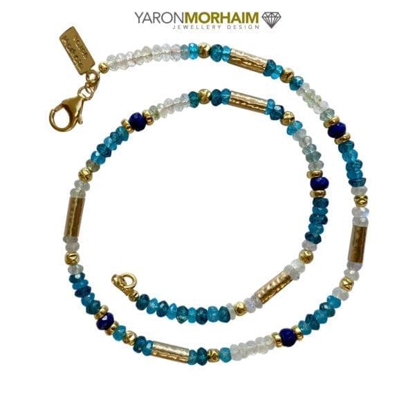 Necklace Blue Topaz, Aquamarine, Moonstone & Lapis