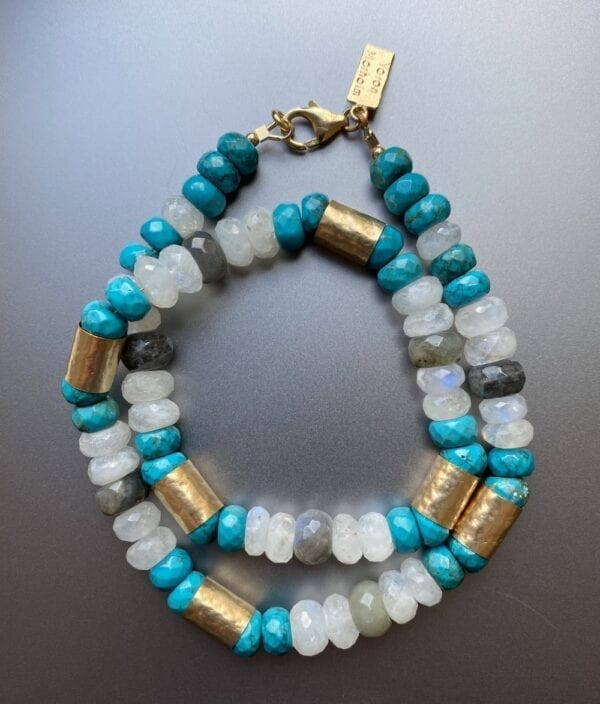 Statement Gold Necklace With Turquoise & Aquamarine