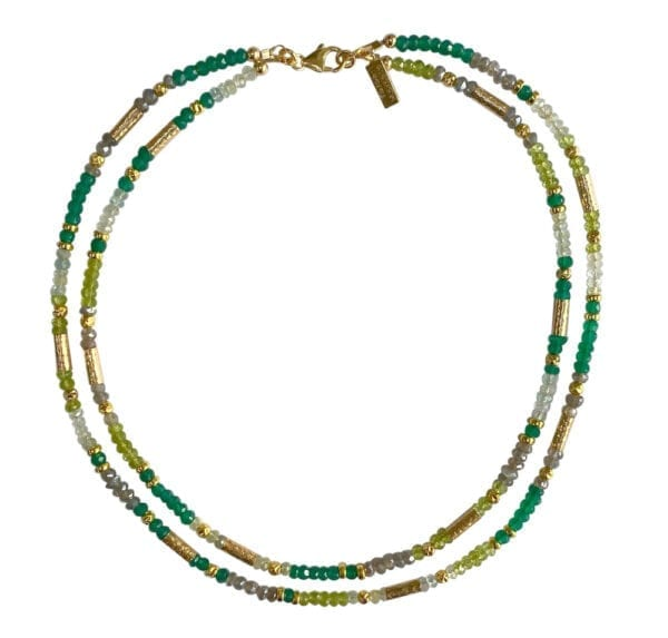 Necklace Peridot Labradorite Aquamarine
