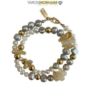 Necklace Citrine White Pearls