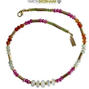 Necklace Pearls Cornelian Aquamarine