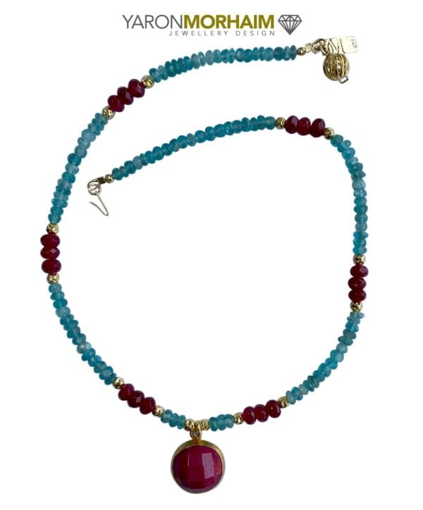 Blue Apatite Ruby necklace
