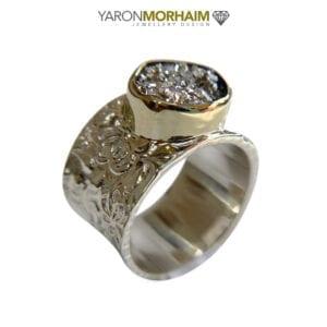 Silver & Gold Druzy Ring