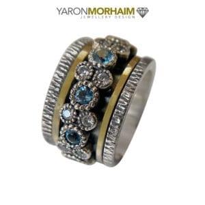 Blue Topaz, CZ Silver & Gold Ring