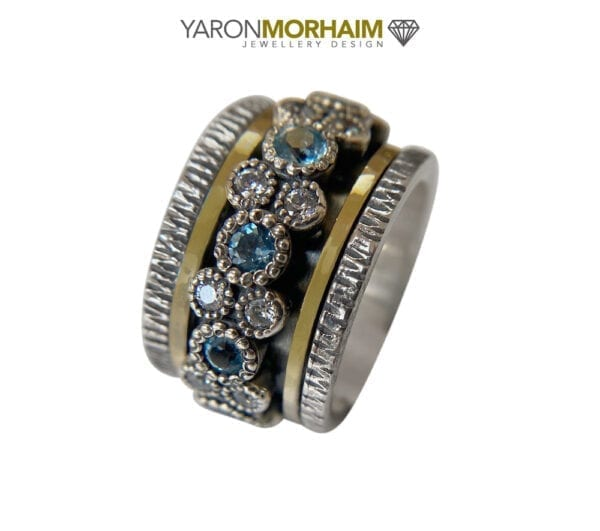 Blue Topaz, CZ Silver & Gold Ring