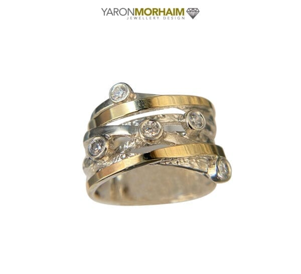 Silver Gold Cocktail Ring