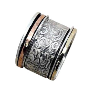 Filigree silver gold ring