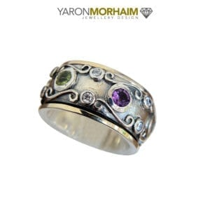 Multicolour Filigree Gemstones Ring