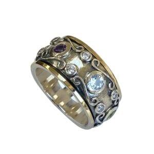 Multicolour Filigree Gemstones Ring