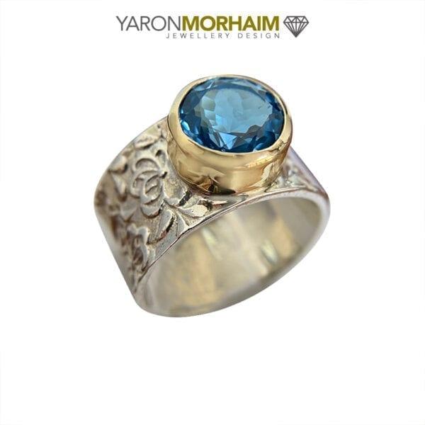 Silver & Gold London Blue Topaz Ring