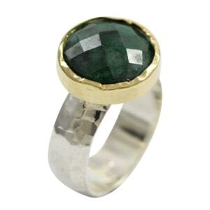 Silver Gold Emerald Ring