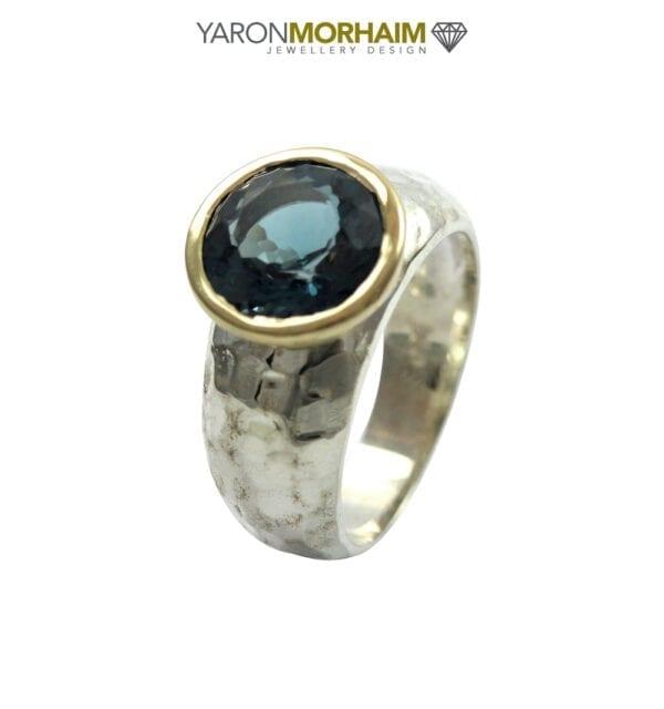 London Blue Topaz Silver & Gold Ring