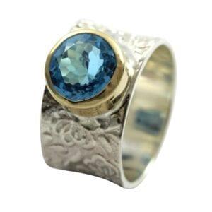 Silver Gold Topaz Ring