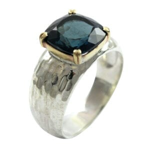 Gold Blue Topaz Silver & Gold Ring