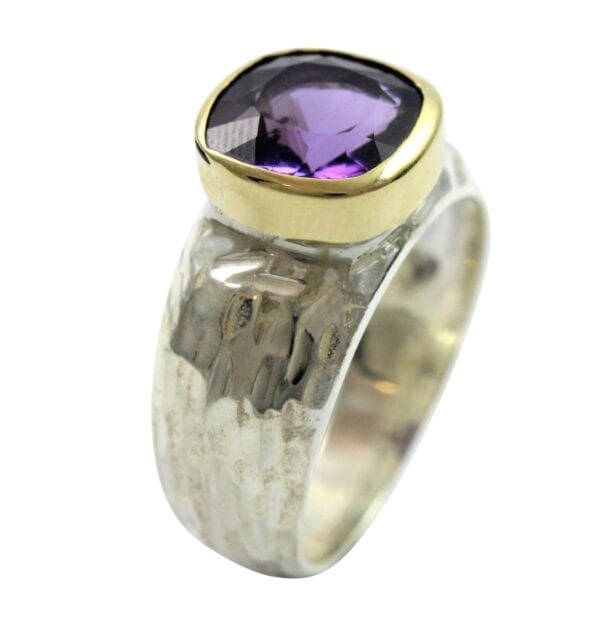 Amethyst Silver Gold Ring
