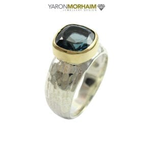 Statement Blue Topaz Silver & Gold Ring