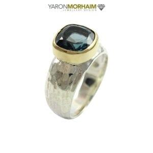 Statement Blue Topaz Silver & Gold Ring