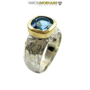 Swiss Blue Topaz Silver & Gold Ring