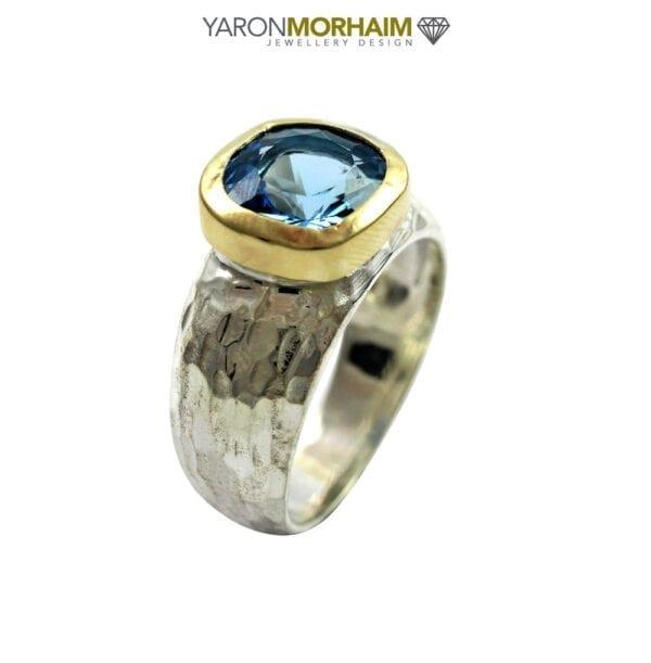 Swiss Blue Topaz Silver & Gold Ring