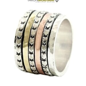 Silver Gold Hammered Ring