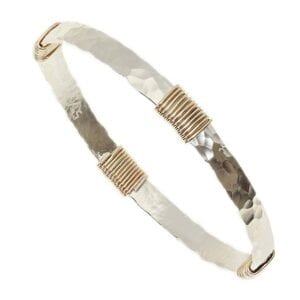 Silver Gold Bangle Hammered