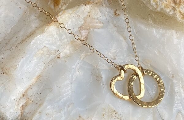 Entwined loop heart necklace