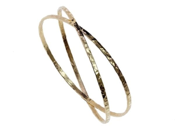 Gold Double Hammered Bangle