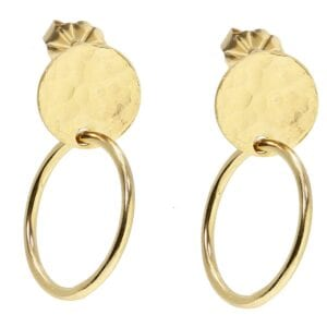 Disc Gold Hammered Earrings