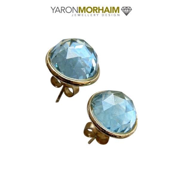 Gold Stud Blue Topaz Earrings