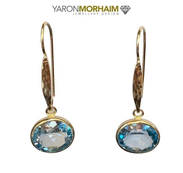 Oval Blue Topaz Drop Earrings