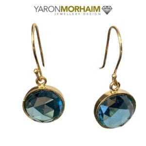 Drop Blue Topaz Gold Earrings