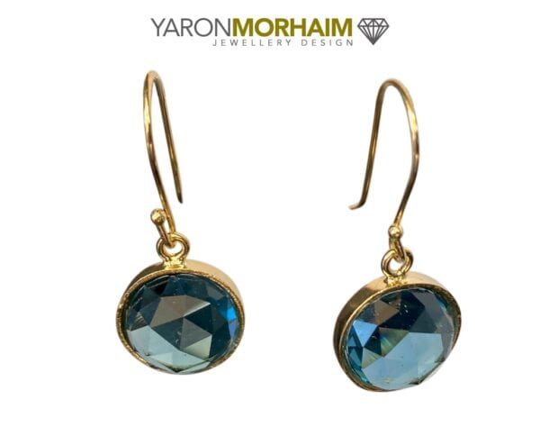 Drop Round Blue Topaz Earrings