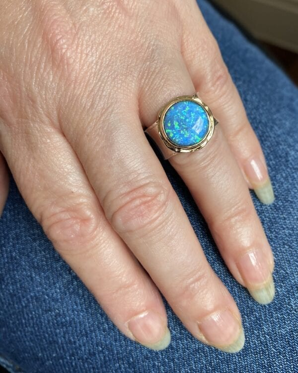 Silver & Gold Opal Ring