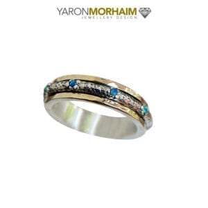 Silver & Gold Spinning Opal Ring