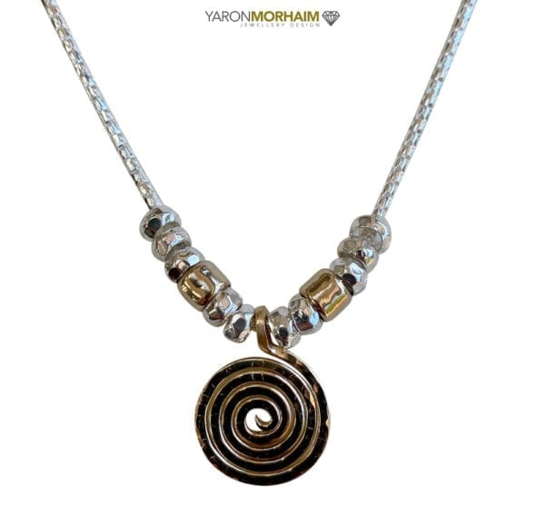 Silver Gold Spiral Necklace
