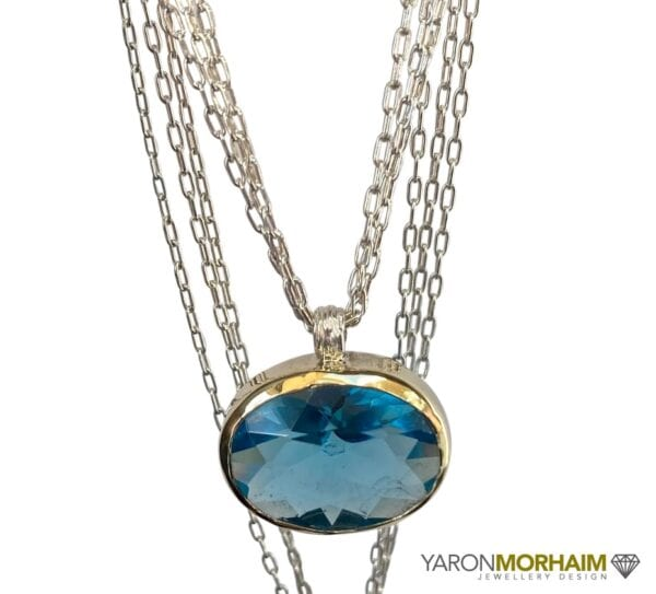 Necklace Faceted Blue Topaz