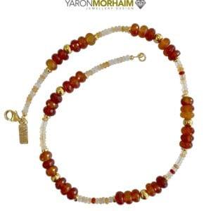 Gemstones necklace Cornelian Moonstone