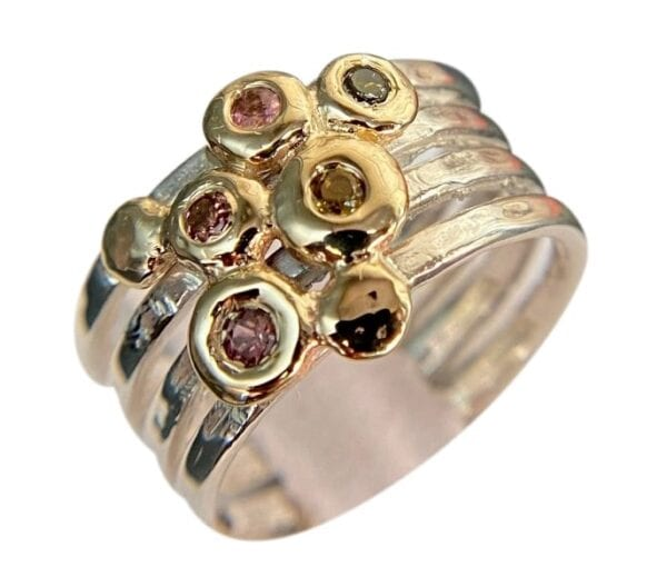 Tourmalines Cocktail Ring, Crafted in sterling silver with 9 carat solid gold.
